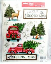 Christmas Reusable Window Clings - FARM FRESH Red Pickup Truck Deer Snow Trees