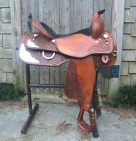 """Western show saddle 16"""" on eco leather buffalo chestnut on drum dye finished"""