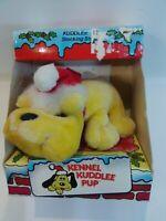 Vintage Kennel Kuddlee Pup Tan Plush Dog Santa Hat Christmas Tara Toy