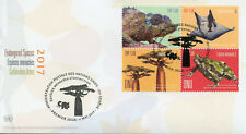 United Nations UN Geneva 2017 FDC Endangered Species 4v Block Cover Frogs Stamps