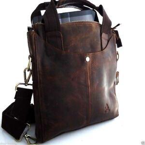 genuine full Leather men Bag Messenger fit iPad air vintage cross body Shoulder