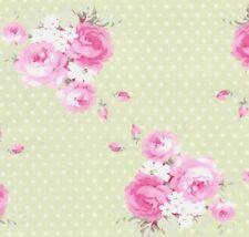 Tanya Whelan Slipper Roses Dottie Rose Bouquet on Green Polka Dot Fabric – FQ