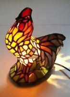 Ancienne Lampe Vitrail TIFFANY ?? Animal Coq Décoration Multicolor