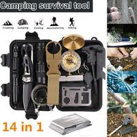 14 in 1 Outdoor Camping Survival Gear Kit SOS EDC Tactical Defense Emergency Set