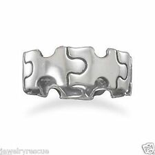 Puzzle Piece Band Ring .925 Sterling Silver Size 7 Unisex Men's Thumb NEW