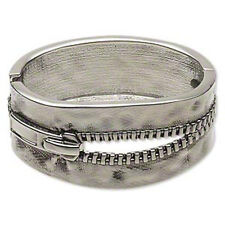 Steampunk Antiqued Silver Pewter Open Zipper Hinged Bangle Bracelet