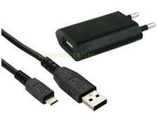 Chargeur USB pour prise murale 1A + Câble Micro USB Noir pour Nokia Huawei Sony