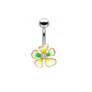"""14 GA 3/8"""" Green and Yellow CZ Center Belly Button Navel Ring Dangle B629"""
