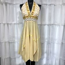 One Size OS - Vintage Embroidered Floral Yellow Halter Dress