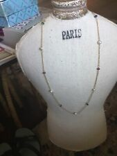14K GOLD  EMERALD~RUBY~SAPPHIRE- PEARL STATION NECKLACE WLobster CLASP