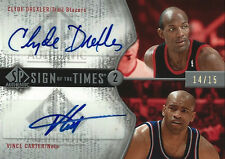2006-07 VINCE CARTER CLYDE DREXLER SP AUTHENTIC SIGN OF THE TIMES 2 #14/15 RARE