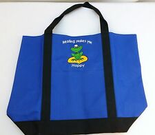 NEW Reading Makes Me Hoppy- Blue & Black Tote Bag w/ Frog Duffel Storage Carry