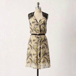 Anthropologie Lil Tassel Fronds Silk Dress US 2 Yellow Black