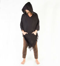 Handmade Poncho with Large Hood Simply Black Cashmere Wool Earthy Tribal Pattern