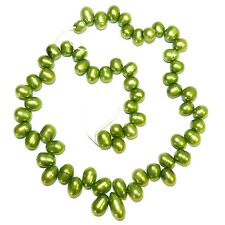 NP478 Green 8mm - 15mm Cultured Freshwater Graduated Top-Drilled Rice Pearl Bead