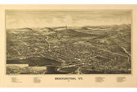 Bennington, Vermont; Antique Birdseye Map; 1887