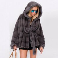 Fashion Women's 100% Real Mink Fur Coat Hooded Belted Poncho Cape Jacket Hoodie