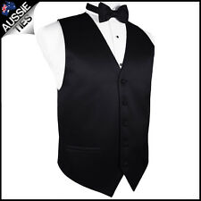 """MENS BLACK WAISTCOAT WITH MATCHING BOW TIE CHOOSE SIZE (32-60"""" chest) vest"""