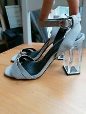 NEW LOOK grey strappy faux suede illusion clear block heel sandals shoes sz 5
