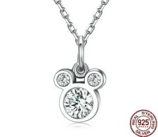 Mickey Mouse Pendant Necklace in 925 Sterling Silver Dazzling Cartoon Jewelry