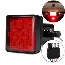 "Red 15 LED 2"" Trailer Truck Hitch Tow Haul Receiver Cover Brake Light w/ Pin 12V"