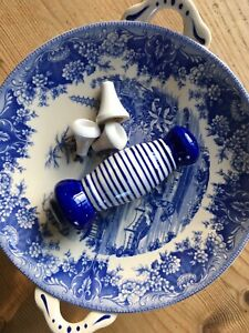 Classic Blue and White Stripe Porcelain Light Pull Bathroom Toilet Switch
