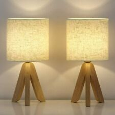 Set of 2-Small Table Lamps - Wooden Tripod Nightstand...