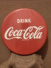 COCA COLA  Button Coke Sign  Soda Pop Advertising Enamel 18 INCH Round