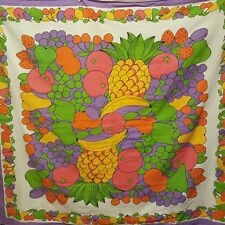 "Tropical Fruit Tablecloth Banana Pineapple Square 50"" Karsten Purple Yellow"
