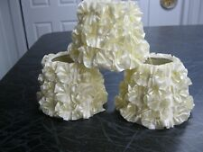 New - 3 small cream colored ruffled floral look lamp shades