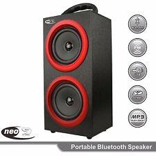 NEO PS1B BLACK & RED PORTABLE BLUETOOTH SPEAKER BOOM BOX TOWER & PHONE HOLDER