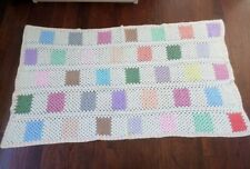 Granny Squares Multi-Color Crochet Afghan Quilt 52 x 96 Twin Bedspread Throw