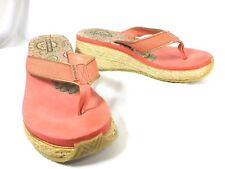 Air Walk Women`s Platform Flip Flop wedge Sandals Size 9 coral pink thong