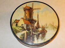 Vintage unbranded Tin w/ Holland Scene Painted on lid