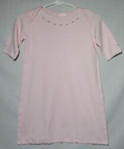Kissy Kissy pima cotton button bottom pink sleeper w/embroidery size 6 months