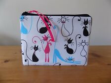 'Skinny Cats' Fabric Storage Pouch Coin Zipper Purse Make Up Cosmetics Case Bag