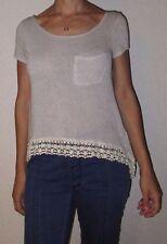 EUC Womens Junior Small Hollister Beige Crochet Knit Lace Trim Hi Low Tunic Top