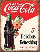 """Coca-Cola 5 Cents Sprite Boy Vintage Retro Tin Metal Sign 13"""" x 16"""""""