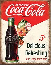 "Vintage Coca-Cola 5 Cents Bottles Sprite Boy Tin Sign Size 13""x 16"""