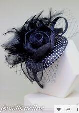 blanco y negro lunares Tocado, Diadema Boda Mujer Carreras Día accessorios