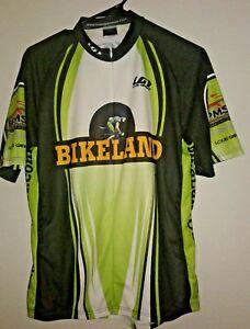 Louis Garneau Cycling Jersey Shirt, Mens Size M Green Bikeland BPMS150 2007