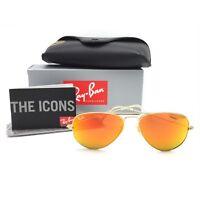 New Ray-Ban RB3025 112/69 Gold Aviator Sunglasses w/ Mirrored Orange Lenses 58mm