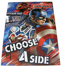 Infantil/ Boys Captain America Libro de pegatinas Pad + 30 Stickers - NUEVO