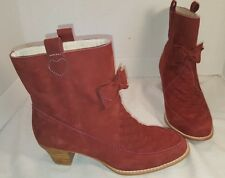 NEW ANTHROPOLOGIE F TROUPE RED SUEDE FLAT BOW BOOTIES ANKLE BOOTS US 9 EUR 39