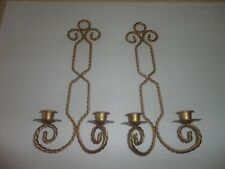 Home Interiors Set of 2- Gold Metal twisted Rope Wall Sconces 15''