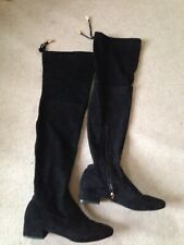 Over The Knee Black soft Face suede Boots Size 4 low heel