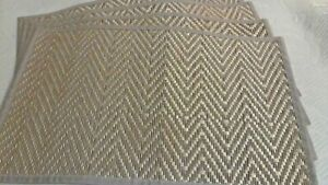 """100% Bamboo Placemats Gold Edged Beige Fabric 12 x 18"""" Spot Clean NEW WTag Set 4"""