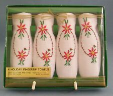 Holiday Fingertip Towels Set of 4 Poinsettia Size 10.5 x 18 Christmas Cotton