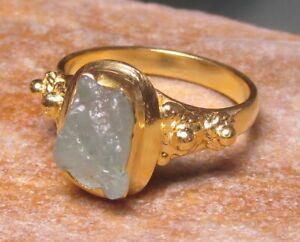 Gold plated brass aquamarine ring UK R½/US 8.75-9. Gift Bag.