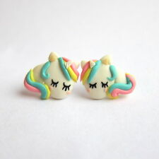 Emo Rainbow Funny Cute Unicorn Horse Small Girls Gifts For Kids Earrings Jewelry
